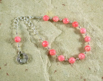 Eros Prayer Bead Bracelet in Rhodochrosite: Greek God of Love, Lust, and Passion