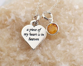 A Piece of My Heart is in Heaven Necklace Sterling Silver Swarovski Crystal Accent Charm Pendant Cable Chain Birth Month Love Mourning