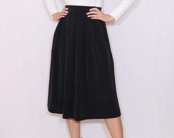 Midi skirt Black wool skirt with pockets Women skirt High waisted skirt A line wool skirt