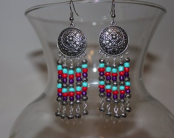 Stunning, Ethnic, Boho Stylin, Chandelier Earrings. Colorful, Boho, Earrings. Multi Colored Chandeliers. Beautiful Floral Filigree Designs.