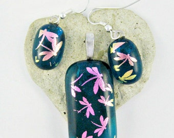 Dragonflies In The Sky Dichroic Pendant and Earrings Fused Glass Jewelry Set