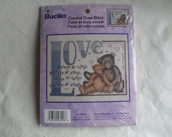 Counted Cross Stitch Embroidery Bucilla Love Beareth Stitchery Kit NIP