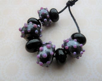 lampwork glass beads, silver and pink bumps, UK handmade set