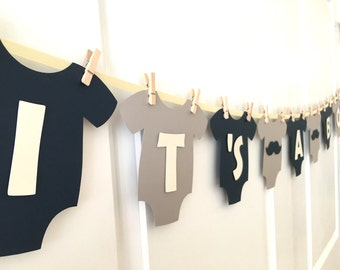"""Baby One-Piece Bodysuit """"IT'S A BOY"""" Mustache Baby Shower Banner: Navy, Gray, and White Baby Shower Decoration"""