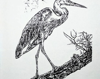 "Great Blue Heron, hand carved woodblock print, 16""x20"""