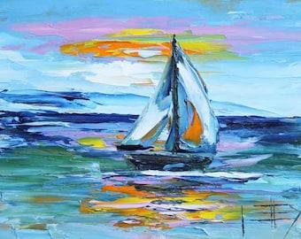 Sailboat, Boat Painting, Sail Boat Painting, California Art, Beach Painting, Big Sur, Carmel, Sail Boat Art, Original Oil, Painting, Boats
