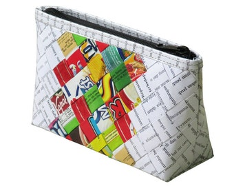 Makeup case using candy wrappers and office document paper, FREE SHIPPING, vegan case, eco-friendly makeup bag purse, upcycling by milo