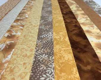 Jelly Roll Yellow Gold Neutral Quilt Strips, Leaves - 2.5 inch wide, 20 strips each roll - Supplied by ArtisticF