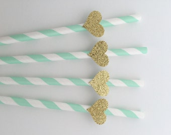 6 MINT and Gold Paper Straws.  Gold Glitter Heart. Party Decorations. Dessert Table Decor. Baby Shower, Bridal Shower, Wedding or Birthday