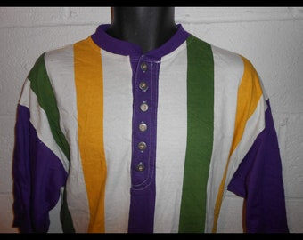 Vintage 90s Hip Hop Cross Baiscs Purple Yellow Green Striped Shirt XL