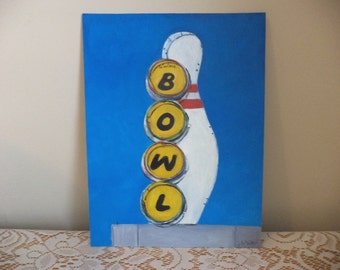 Bowl, Original Painting, Mid-Century Modern, Atomic Age, Road Sign, 1950s, 1960s, Nostalgia, Bowling, Bowling Pin, Blue Sky, Bowling Alley