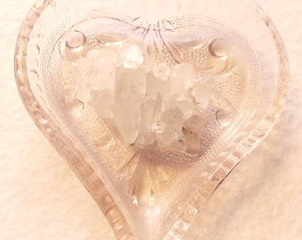Glass Carved Heart Tray with Quartz Crystal