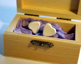 Handcrafted earrings, white heart earrings crackle effect handmade in Spain in a handmade fashion
