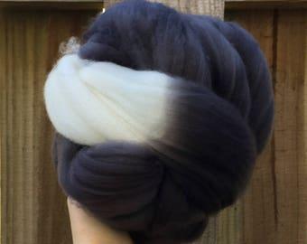 Spinning fiber - superwash merino nylon 3.53 ounces black charcoal gray grey white natural roving top