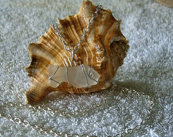 Fish necklace.  Sea glass necklace. Sea glass jewelry.
