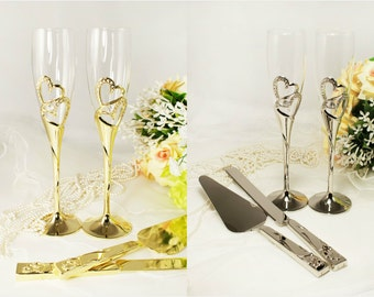 Wedding Toasting Flutes Champagne Knife and Wedding Cake Server Set Personalized Engraved