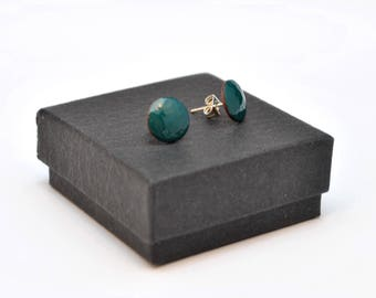 Jade green enamel stud earrings