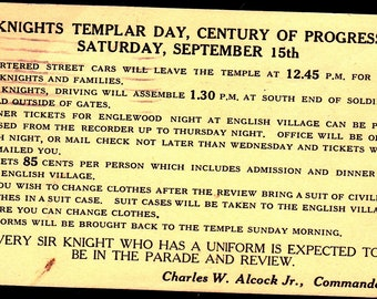 Knights Templar: Century-of-Progress postcard