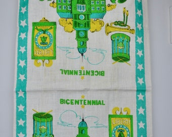 Linen Tea Towel, Souvenir Bicentennial 1976 Kitchen Towel, Philadelphia, Independence Hall, Liberty Bell