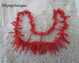 Faux coral necklace 1950's