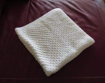 36x36 Baby Afghan / White Baby Afghan /  BootsandBelle