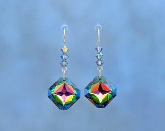 Swarovski Crystal Earrings, Iridescent Earrings