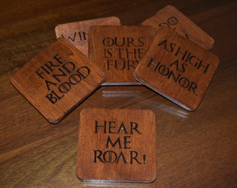 Game of Thrones coasters - Handmade - pyrographed coaster - wooden coasters - westerns - GOT - Stark - Targaryen - Lannister -Greyjoy