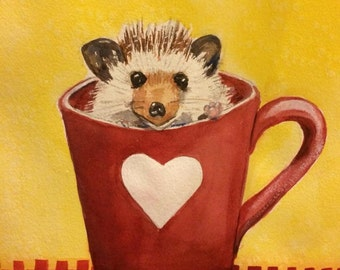 Hedgehog painting, Valentine painting, original watercolor