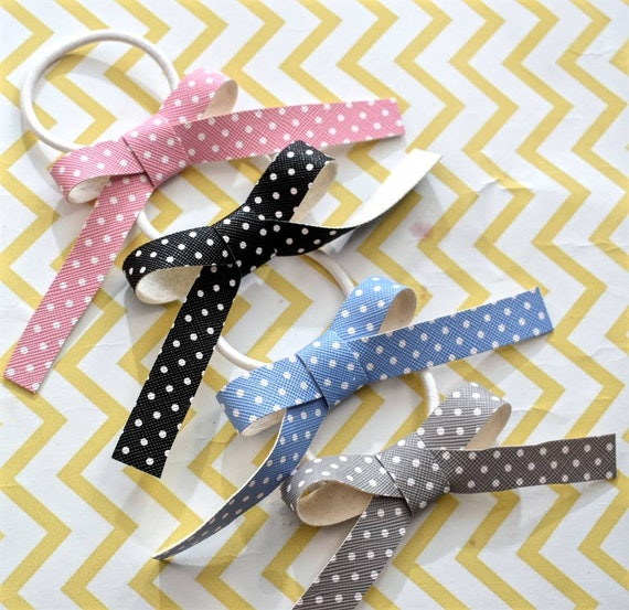 Set of four faux leather polka dot bow hair ties - Kids / Toddlers / Girl pony tail holders / scrunchies / hairband