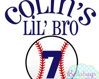 Baseball Little Brother PRINTABLE Digital Iron-On Transfer Design - Personalized - DIY - Do It Yourself