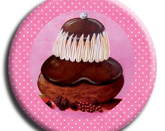 Magnet magnet depicting a chocolate background pink polka dot 38 mm