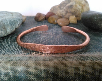 Hand Hammered Cherokee Copper Cuff Size Large - Fits Men or Women -Unisex