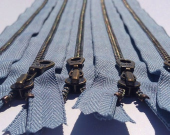 YKK Metal Teeth Zippers- Grey Blue Antique Brass Donut Pull-Color 262 Blue Heron- 5 Pieces- Available in 9,11, and 14 Inches