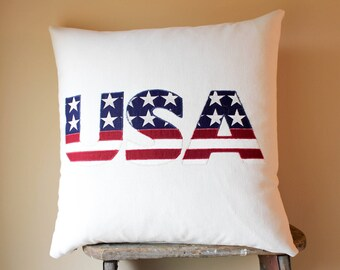 USA Independence Day Patriotic Gift, Patriotic Pillows, Patriotic Decor, Rustic US Flag Decor, Rustic Flag Decor, 4th of July Decor