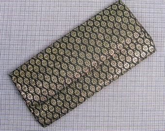 Vintage 1950s Clutch 50s Black Silk and Metallic Gold Brocade Evening Bag
