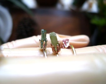 Ring Tiny Raw Tourmaline crystals stacker ONE- Custom made in your size.  Pink, Green or Black crystal in solid silver or yellow gold filled