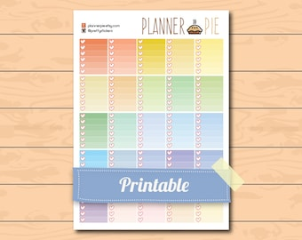 Erin Condren Vertical Printable Ombre Heart Checklist boxes ~ Printable Planner Stickers full size - Instant Download for Life Planner