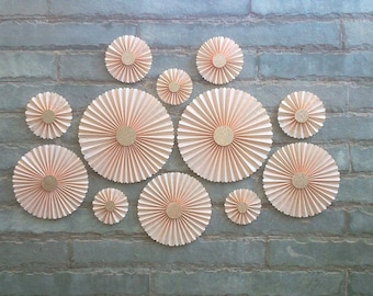 SET OF 12 - Peach Paper Rosettes / fans, Table Backdrop, Hanging Décor.