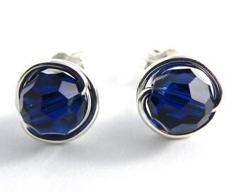Denim Blue Swarovski Crystal Stud Earrings