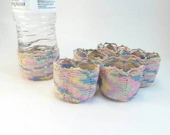 SALE Vintage hand crocheted drink cozies set of 6