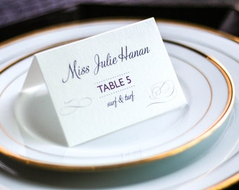 "Elegant Event Seating, Purple Wedding Placecards, Dinner Selection Placecards - ""Modern Swirl and Flourish"" Tented Placecard v2 - DEPOSIT"