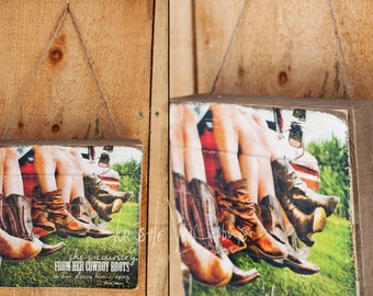 Girls Boots - 'She's Country' Wood Pallet Photo Transfer - ©Krystle VanRoboys, Photographer