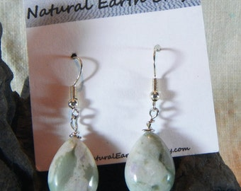 Multicolor green peacejade earrings teardrop white gray green semiprecious stone jewelry in a gift bag 2334 A