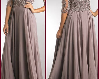 LUA Mother Of the Bride Paisley Beaded Open V Neckline Long Gown
