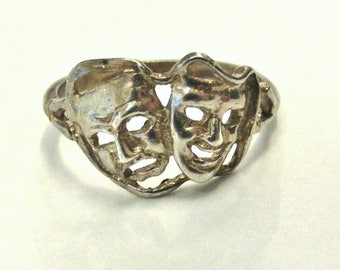 Vintage silver comedy and tragedy ring