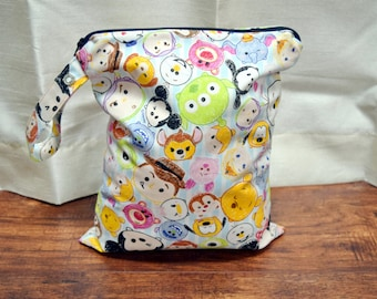 Tsum Tsum Character Wet Bag~ Baby Blue or Pink~ PUL Bag, Reuseable, Swim, Travel, Baby, Shower Gift