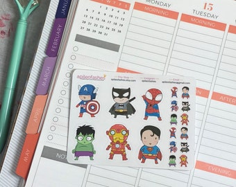 SuperHero Sampler Bible Journaling Stickers, Faith Dori Stickers, Travelers Notebook, Planner Stickers