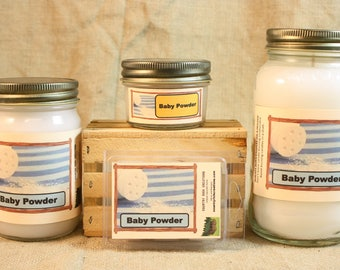 Baby Scented Candle, Baby Scented Wax Tarts, 26 oz, 12 oz, 4 oz Jar Candles or 3.5 Clam Shell Wax Melts