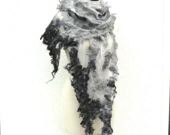 Nuno felted shawl - wool and silk shawl - black and grey scarf - Fashion Accessories