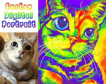 Custom Pet Portrait DIGITAL Painting, RAINBOW Art, Cat Illustration, Dog Lovers, Memorial Gift, Digital File Only